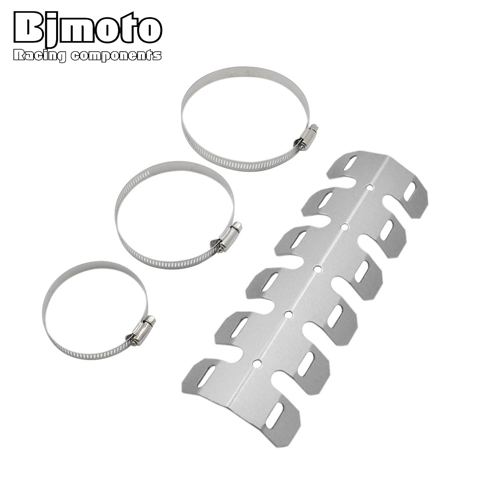 BJMOTO Universal Exhaust Pipe Header Heat Wrap Aluminum Shield Guard Cover for Motorcycle for BMW R 1200 GS F 700 GS G450X epman universal 3 aluminium air filter turbo intake intercooler piping cold pipe ep af1022 af