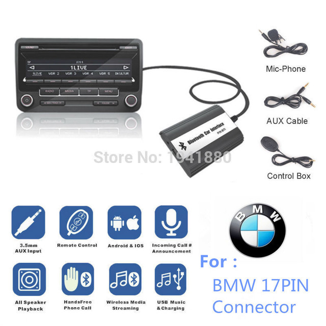US $68 0  FOR BMW 10PIN E46 E36 E38 E39 K1 X3 X5 Z3 Z8 MINI R5X Bluetooth  Handsfree Kit Car MP3 Adapter AUX USB Music USB Charging -in Car MP3  Players