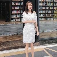 AIYANGA Dress for Women 2019 Spring Slash neck Tassel Slim Waist Dresses Sets Casual Summer Dress Female vestidos White