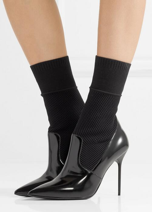 2018 Sexy Pointy Toe Ladies Slip On Ankle Boots Fashion Sock Boots Black Patent Leather Patchwork Women High Heel Boots Size 42 2018 new suede leather patchwork women flodover mid calf boots sexy pointy toe ladies blade heel boots zipper knight boots