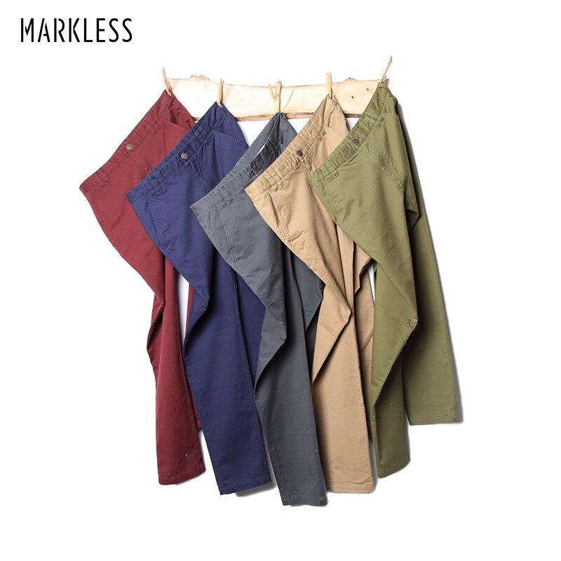 Markless 2018 Cotton Pants Men Business Casual Straight Pants Male Multi-color Slim Trousers Men hombres pantalones CLA7825M