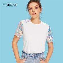 COLROVIE White Contrast Sequin Mesh Sleeve Preppy T-Shirt Tee 2018 Summer Sheer Weekend Casual Top Tee Basic Women Clothing