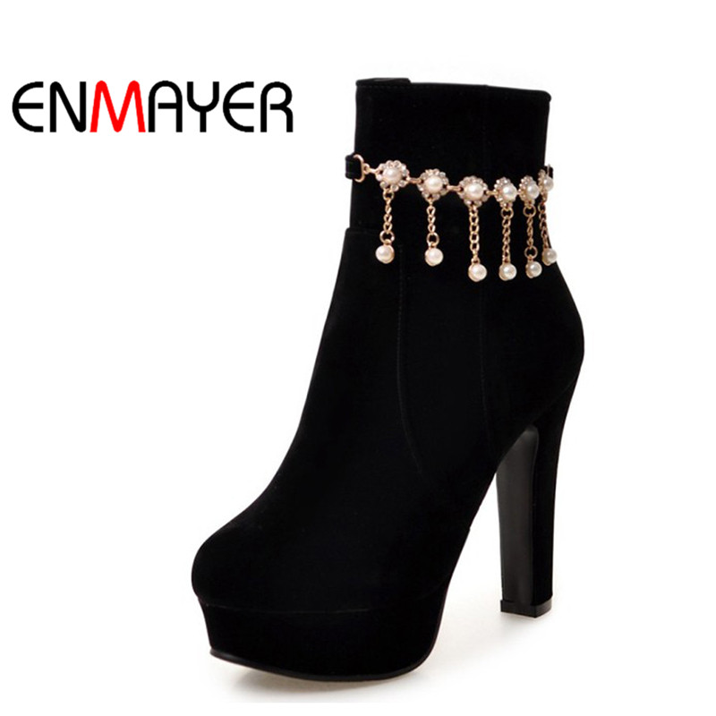 ENMAYER Ankle Boots for Women High Heels Round Toe Platform Shoes Woman Plus Size 34-45 Blue Black Beige Peach Winter Boots enmayla ankle boots for women low heels autumn and winter boots shoes woman large size 34 43 round toe motorcycle boots