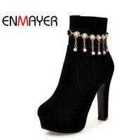 ENMAYER Ankle Boots For Women High Heels Round Toe Platform Shoes Woman Plus Size 34 45