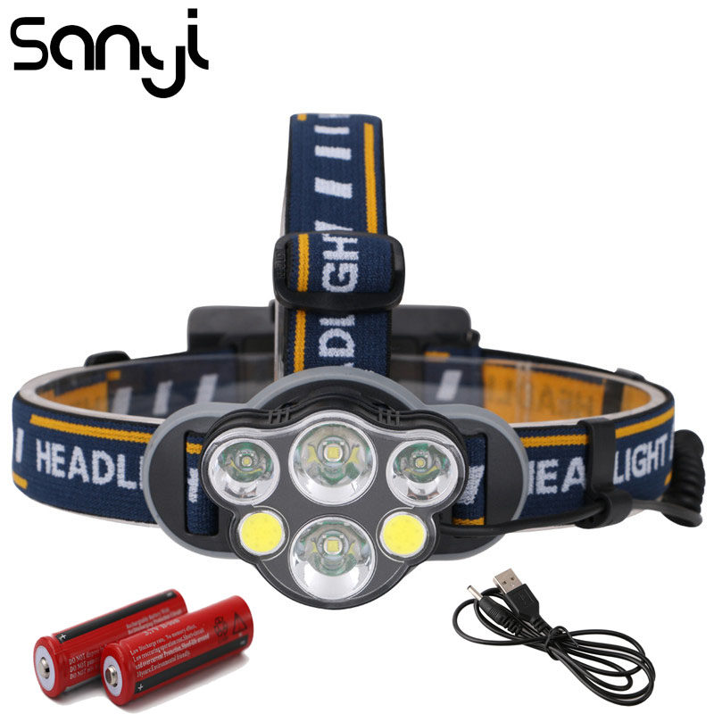 SANYI 2*T6+2*XPE+2*COB Flashlight Forehead Super Bright Camping Headlamp USB Rechargeable Headlight LED Lantern 18650 Battery