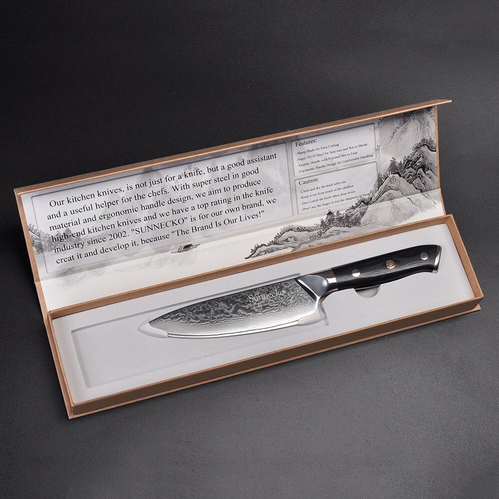 SUNNECKO Professionnel 6.5 ''Couteau de Chef 73 Couches Damas Cuisine En Acier Couteaux Japonais VG10 Core Lame G10 Poignée Cutter Couteau