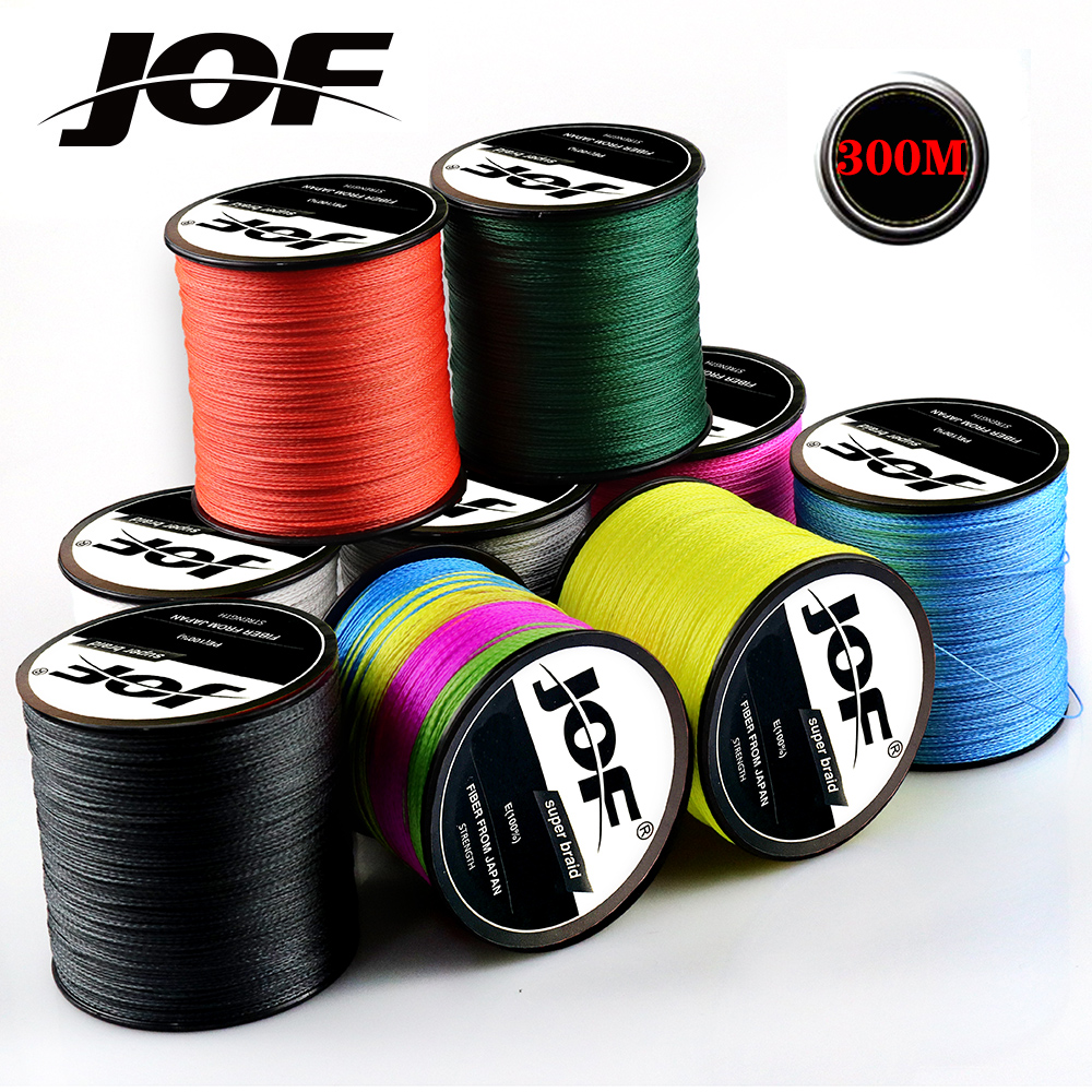 JOF 300M 4 Strands 8 Strands PE Braided Fishing Line Strong Multifilament Fishing Wire