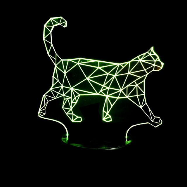7 Color Wave Cat Walking Cat Lamp 3D Led Night Lights For Kids Touch USB Table Lampe Baby Sleeping Nightlight With Switch