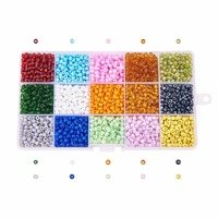 1 Box 15 Color 4mm 6/0 Glass Seed Beads for Jewelry Making, Mixed Color, 4mm, Hole: 1mm; about 390pcs/compartment, 5800pcs/box