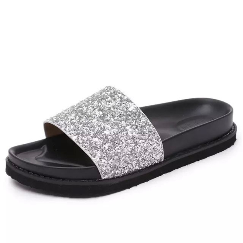 Shoes Woman 2016 New Summer casual flip flops fashion bling slip on sandals  girls black flat beach slides eu35 39 KM1205-in Women's Sandals from Shoes  on ...