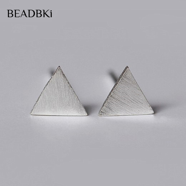 b6a51393081f9 US $3.38 |925 Sterling Silver Matte Triangle Heart Stud Earrings Fashion  Small Round Earrings Sterling silver jewelry Bijoux Gift-in Stud Earrings  ...