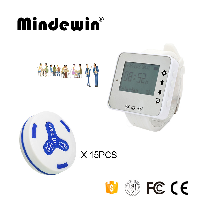 Mindewin 433MHz Restaurant Pager 15PCS Table Call Button M-K-3 and 1PCS Watch Pager M-W-1 Wireless Waiter Service Calling System service call bell pager system 4pcs of wrist watch receiver and 20pcs table buzzer button with single key
