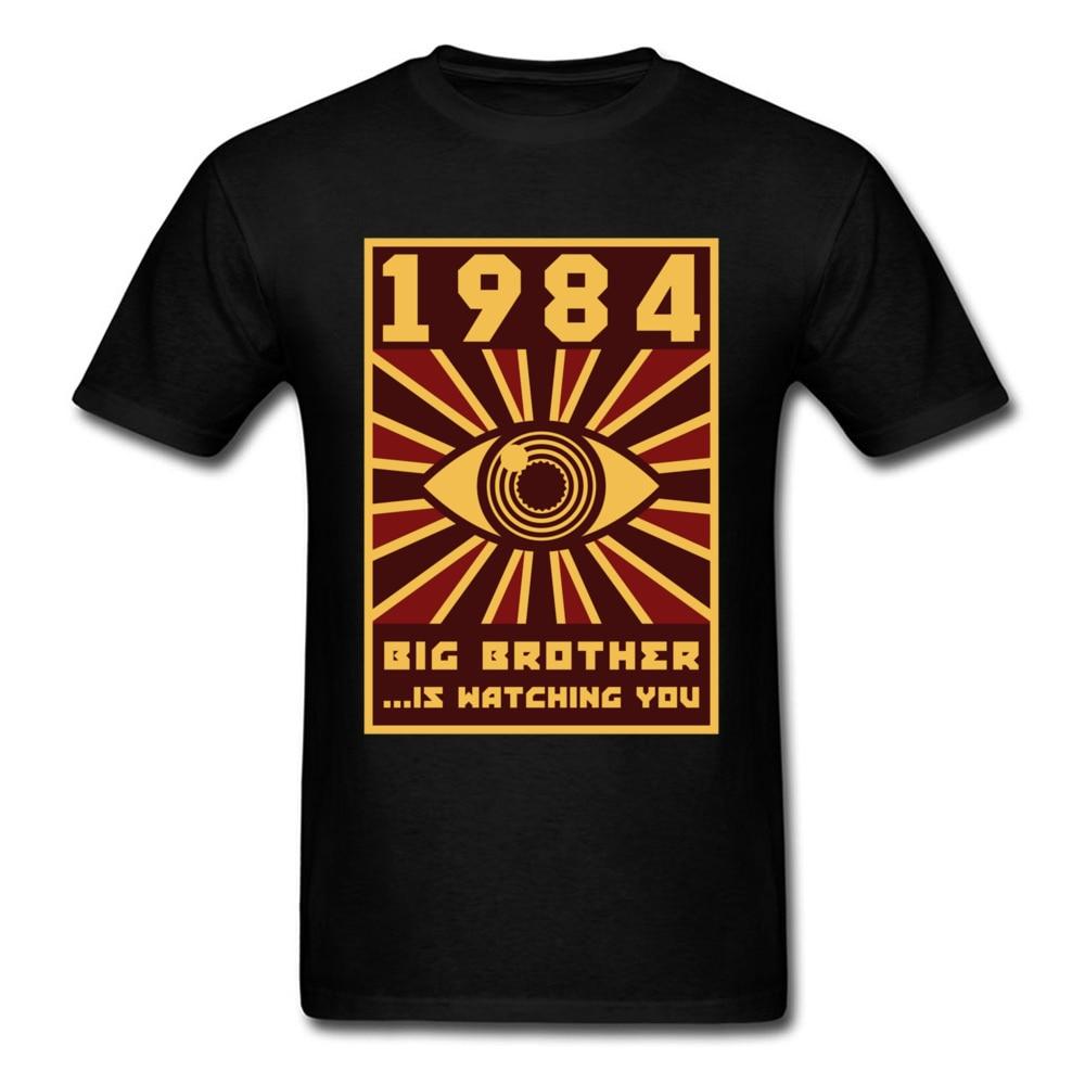 1984 Big Brother T-shirt Men Black Tops Graphic Tshirt Horus Eye Clothing Vintage Tees 80s T Shirts Funny Hipster Streetwear
