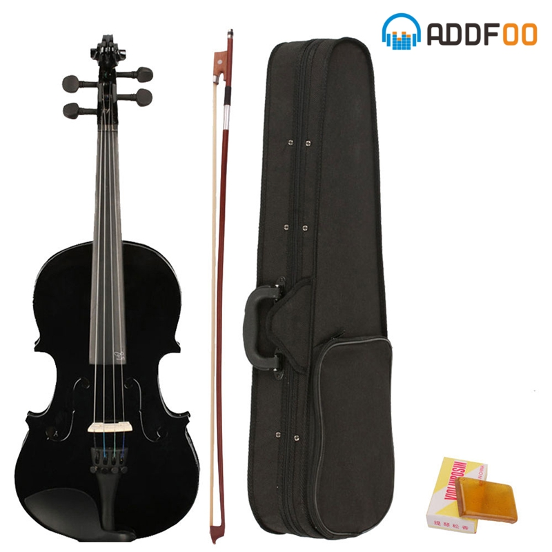 ADDFOO 4/4 Full Size Acoustic Violin Solid Wood Fiddle Black With Case Bow Rosin Stringed Instrument For Kids Students Beginner 4 4 portable electric violin with bow rosin carry case for beginner