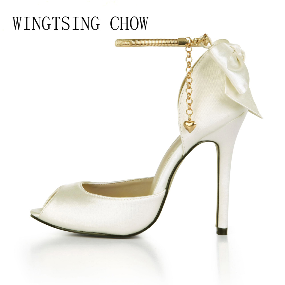 2017 New Ivory Satin Elegant Wedding Patry Shoes Women Peep Toe Thin High Heels Chain Bowknot Lady Pumps Zapatos Mujer 0640C-k9 2017 new ivory sexy wedding bridal shoes women pointed toe stiletto super high heels chain lace lady pumps zapatos mujer 0640 f5