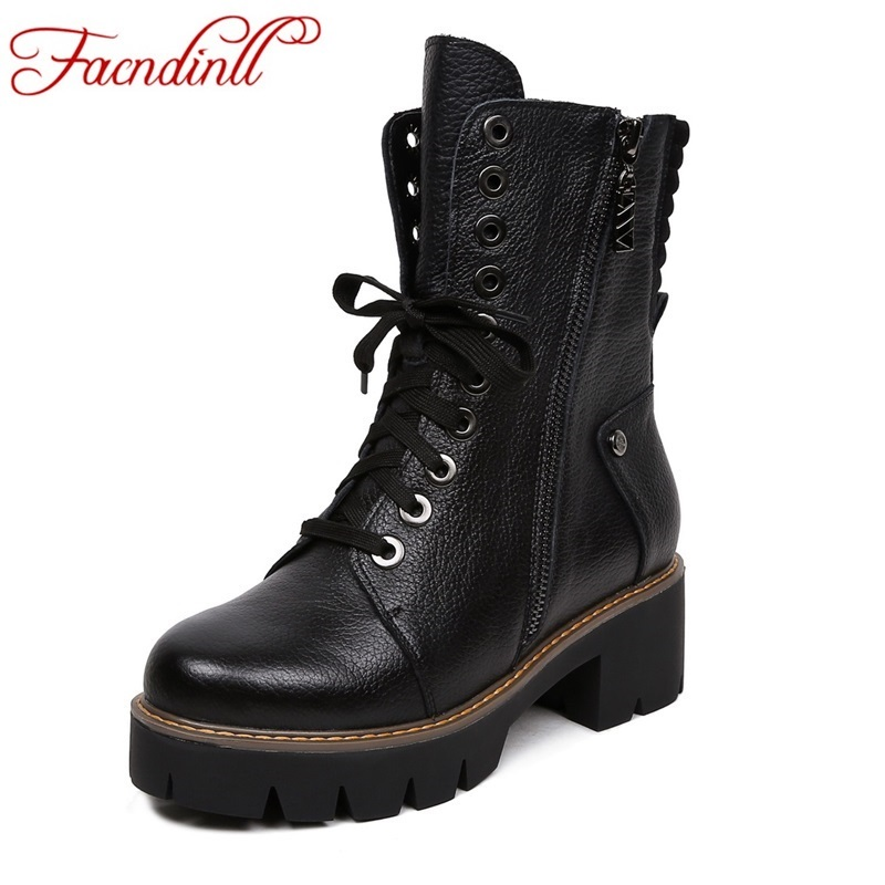 FACNDINLL women boots fashion genuine leather shoes woman ankle boots med heels round toe black motorcycle boots casual shoes стоимость