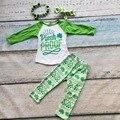 Nueva llegada St Patrick pantalones muchachas de los sistemas conjuntos de ropa a prueba de bebés pinch Azect shamrock boutique establece con los accesorios