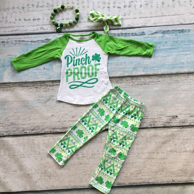 new arrival St Patrick sets baby girls pinch proof clothing Azect pants sets girls shamrock boutique sets with the accessories