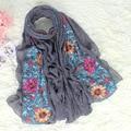 Новый Стиль Серый Китайских Женщин Хлопка Шарфы Платки Вышивка Цветок Украл Пашмины Весна Осень Wrap Хиджаб 180*80 см NP103