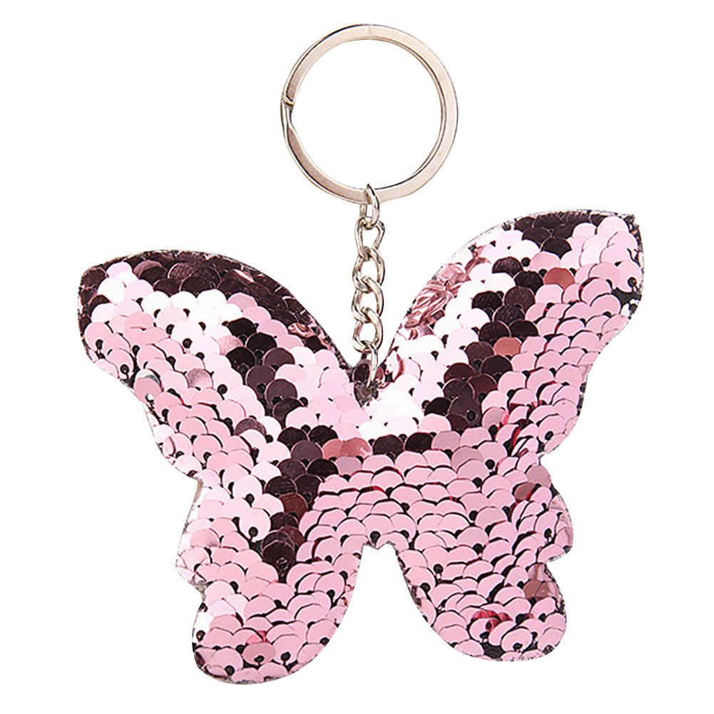 Ransel Gantungan Kunci Kupu-kupu Aksesoris Dibuat Payet Dekorasi Gantung Fashion Glitter