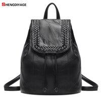 SHENGDIYAGE 2018 Vintage Mochila Women Bag Genuine Leather Sheepskin Luxury Brand Designer Bag Female Sac A