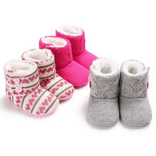 0a6fe0e3872 Infant Baby Girl Boy Toddler Winter Warm Boots Knit Woolen Soft Sole Shoes  0-18M