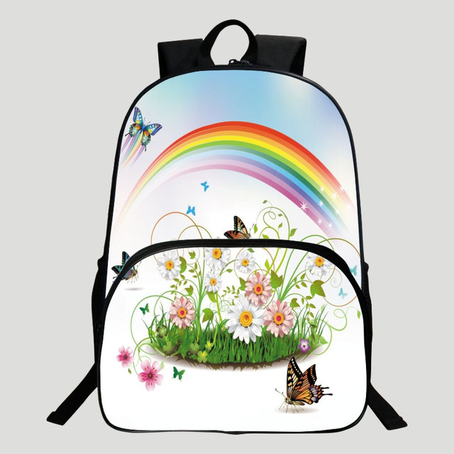f2a3356ae Hot Style Polyester 16-inches Black Printing Butterfly Rainbow Kids Backpack  for Girls Schoolbag Boys School Bags for Children