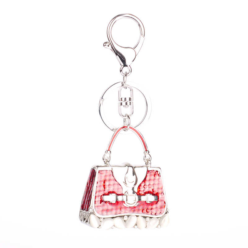 High Quality Drip Alloy Keychain Chaveiro pocket bag design opal stone colorful crystal beads KeyChain women stainless Key Ring
