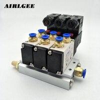 Высокое качество 4V210-08 2 Позиции 5 способ DC24V 3 комплекта Пневматический электромагнитный клапан w глушитель База Бесплатная доставка