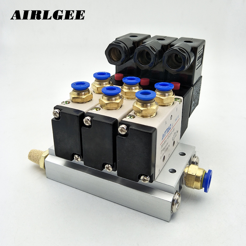 High quality 4V210-08 2 Position 5 Way DC24V 3 Sets Pneumatic Solenoid Valve w Muffler Base Free shipping free shipping triple solenoid valve 4v210 08 2 position base muffler connect 6mm 8mm quick fitting valves set 1 4 bsp
