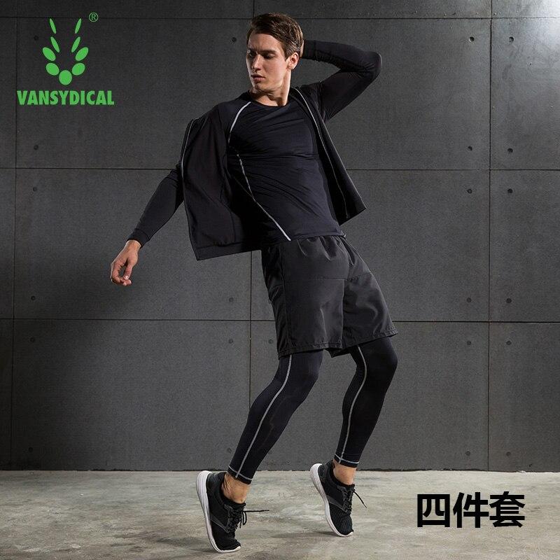 Fanceey 4 шт., мужские спортивные костюмы, спортивный костюм, Мужская компрессионная майка с длинным рукавом, штаны, спортивная одежда, мужской с...