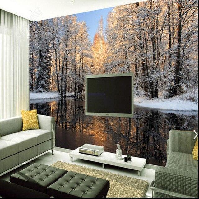 Aliexpress.com : 3D Natur Winter Schnee Tree See Große Foto Tapete ...