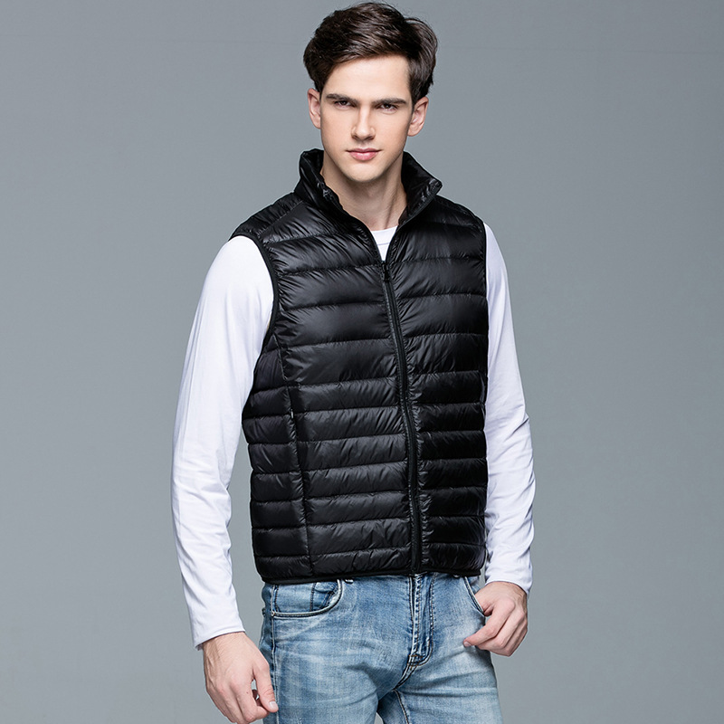 2017 Neue Casual Marke Männer Sleeveless Jacke Winter Ultraleichte Weiße Ente Daunenweste Männer Dünne Weste Winddichte Warme Weste