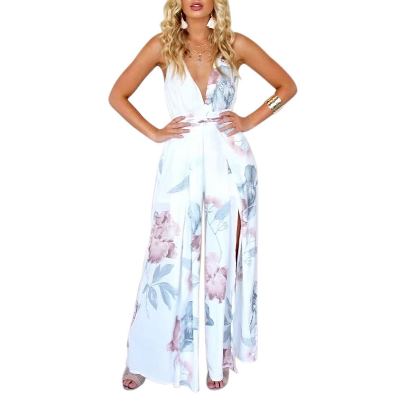 Sexy deep v neck floral print jumpsuit romper women backless cross overalls split wide leg 2018 summer Boho Beach jumpsuit CJ002