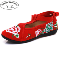Chinese Wedding Women Flats Canvas Floral Embroidered Shoes Cotton Fabric Ballets For Ladies Spring Shoes Woman