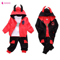 IMSHIE 3 PCS Baby Hooded Cartoon Long Sleeved Shirt Set Children S Warm Suit Baby Infant