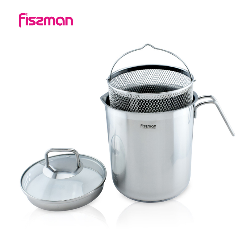 Fissman Asparagus pot 16*18.0 cm 3.5 LTR with Glass Lid and Stainless steel Steamer Basket