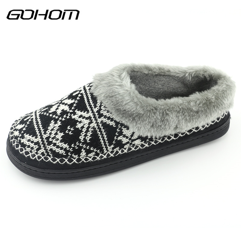 GOHOM New Man Style Plush Warm Home Slippers Winter Black Color Geometric Pattern Soft Flats Indoor Man Slippers