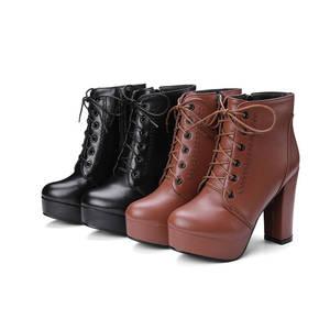 Image 2 - Morazora Groothandel Big Size 34 48 Enkellaars Voor Vrouwen Rits Mode Hoge Hakken Laarzen Herfst Winter Platform Laarzen vrouwelijke
