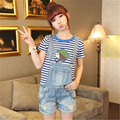 New Summer Cute Blue Cotton Mid Waist Jumpsuit Pocket Shorts Strap Hole Women Denim Overalls Playsuit Jumpsuit Jeans SJ-1893