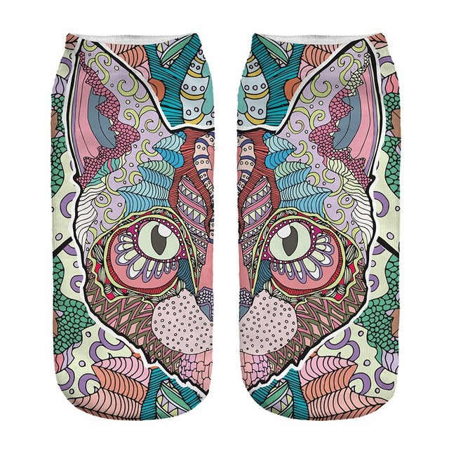 Colorful Cat Printed Socks for Women