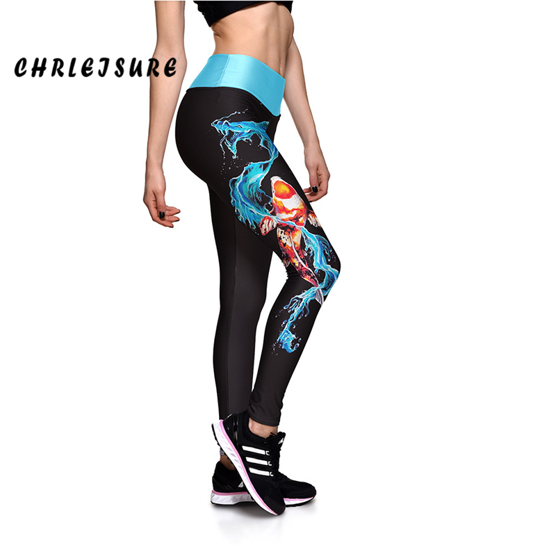 CHRLEISURE   Leggings   Women High Waist Elasticity Pants Water Dragon Fish Side Print Trousers Fashion Design Leggins Sportswear