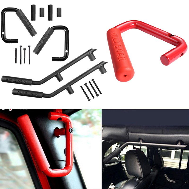 High-Strength Solid Steel Black Grab Bar Front Grab Handle for Jeep Wrangler JK 2 & 4 Door 2007-2017 for jeep wrangler jk anti rust hard steel front