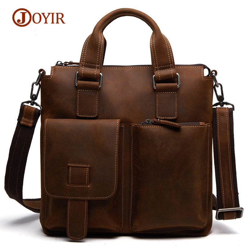 JOYIR Genuine Leather Briefcase Shoulder Tote Messenger Bags Men Business Laptop Bags Male Handbags Crossbody Bags For Men protective pet high clear screen protector guard film for nokia lumia 920 transparent 5 pcs