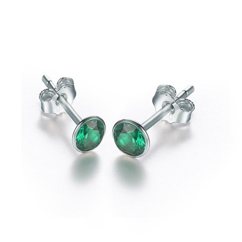 Хорошее ювелирное изделие, серьги-гвоздики для женщин, Серебро S925 пробы, зеленый изумруд, натуральный Круглый драгоценный камень, серьги, элегантные, Bijoux Femme - Цвет камня: Green