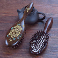 Natural Hairbrush Massage Comb Anti static Hair Scalp Paddle Brush Beech Wooden Handle Hair Brush Styling Tool Care Healthy