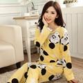 2016 случайные Женщины Пижамы Наборы Осень Пижамы Пижамы Пижамы Домашней Одежды Леди пижамы костюмы pijamas mujer mujer розовый синий желтый