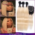 Ombre Straight Hair 3Bundle With Closure Ombre Hair Extensions 2 Tone 1b/613 Malaysian Virgin Hair Blonde Ombre Human Hair