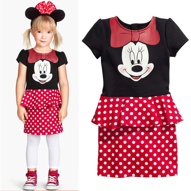 aadca325fcad Kids Infant Girl Petals Dress bowknot Mickey the mouse Toddler ...