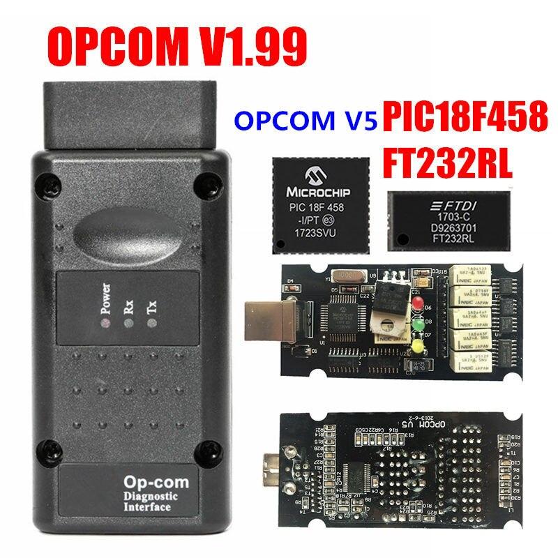 2019 COMOP Firmware V1.59 V1.65 V1.70 V1.78 V1.95 V1.99 PIC18F458 + FTDI Chip de OP com 1.99 Mais Novo SW 2014 Op -com Para Opel